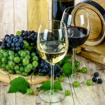 Weingläser, Flaschen, Trauben und Fass
