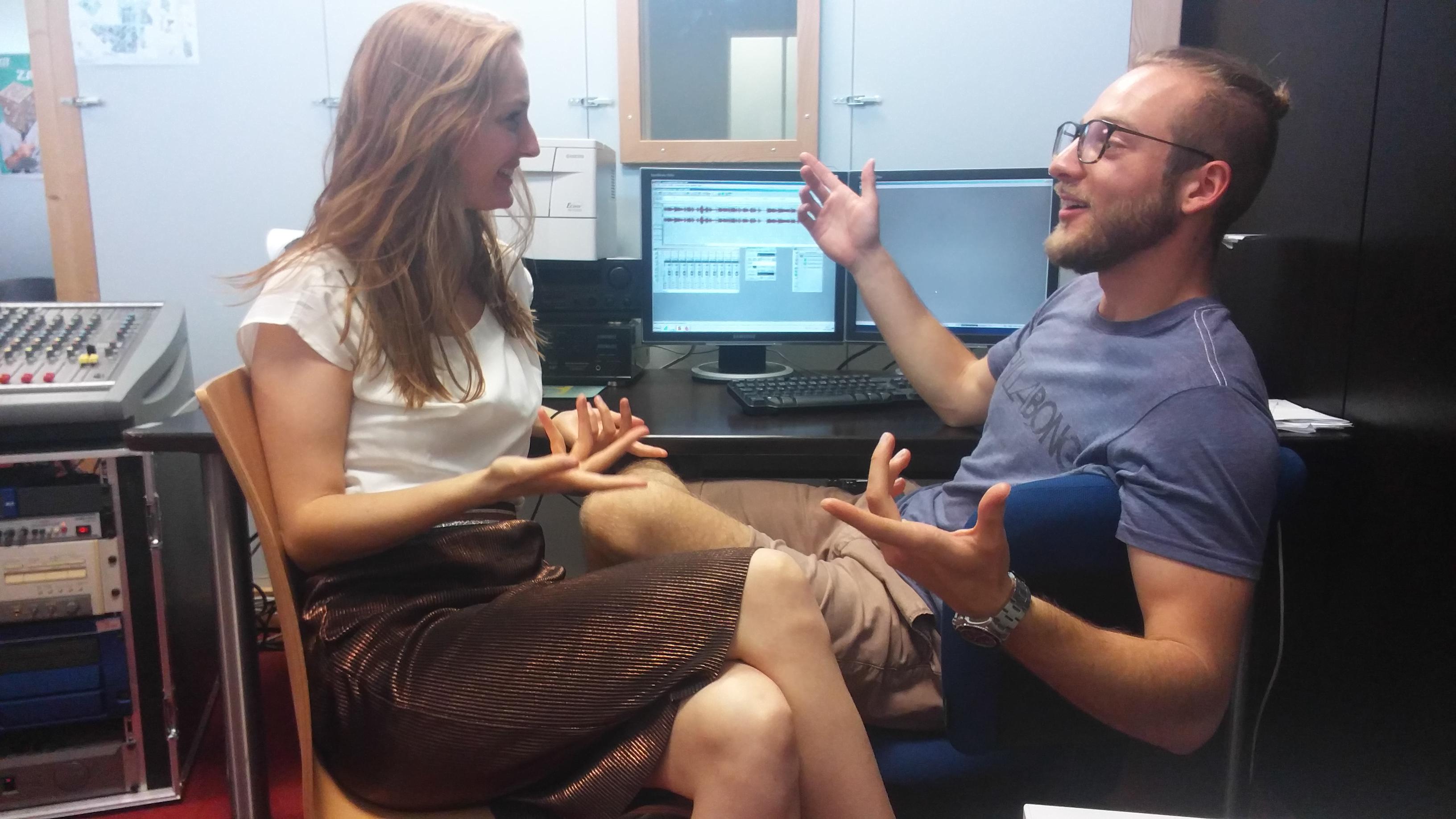Yannick und Helena bei der Aufnahme
