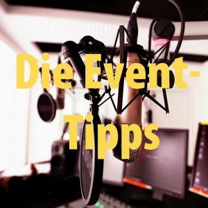 """Studiobild mit Schriftzug """"Event-Tipps"""""""