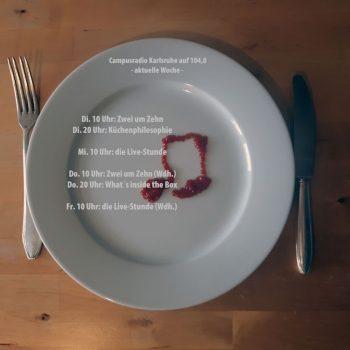 Teller mit Ketchup, darüber Schrift mit Sendezeiten