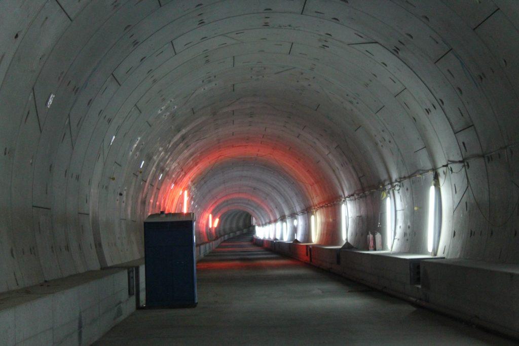 Blick durch neuen S-Bahn-Tunnel unter der Karlsruher Innenstadt