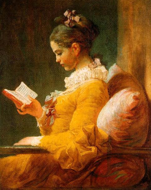Gemälde von junger Frau mit Buch
