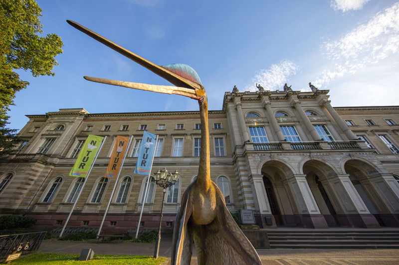 Statue eines Dinosauriers vor Museumsgebäude