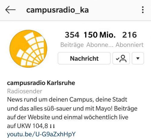 Screenshot des Campusradio-instagram-Profils mit 150 Millionen-Followern (mit Bildbearbeitung)