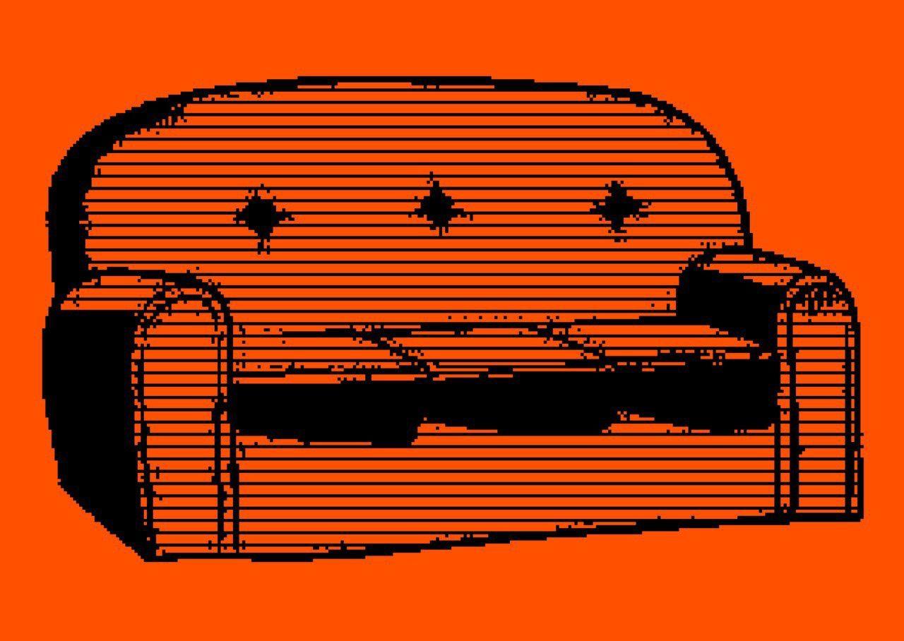 Couch auf rotem Hintergrund