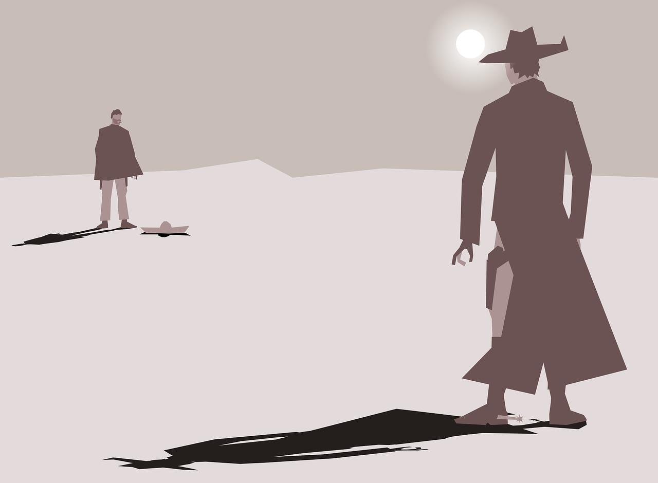Cartoon mit zwei Männern, die sich in der Wüste gegenüber stehen