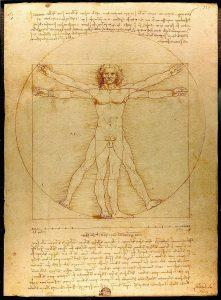 historische Zeichnung eines nackten Mannes mit ausgestreckten Armen und Beinen