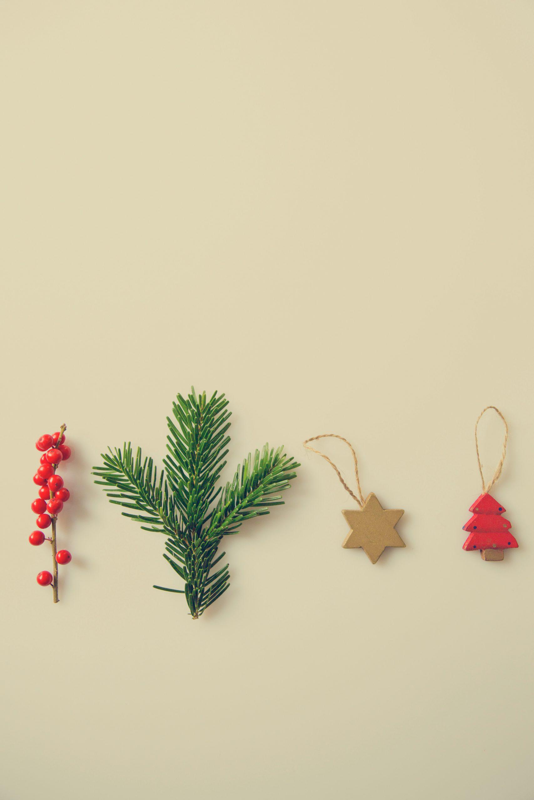 Tannenzweig und Weihnachtsdeko