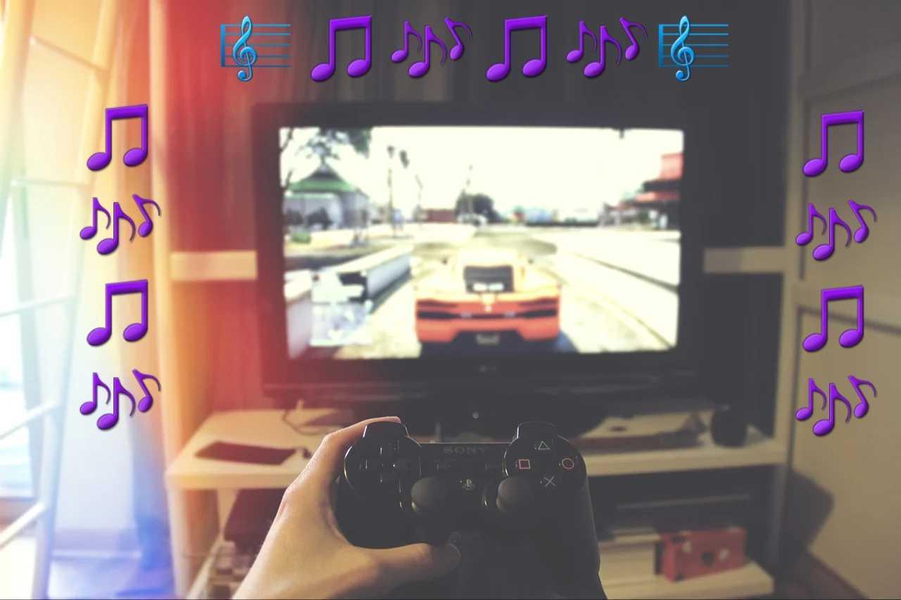 Bildschirm mit Videospiel und Controller