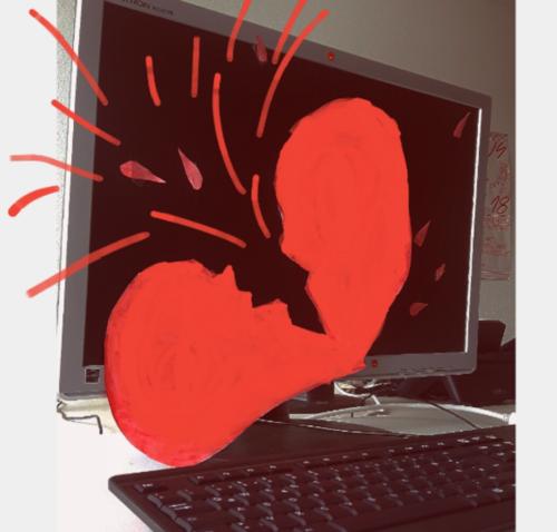 Computerbildschirm mit Illustration eines blutenden Herzens